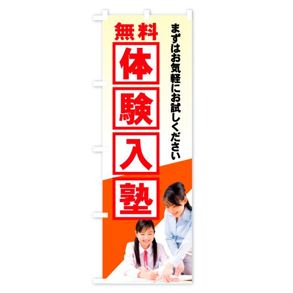 のぼり旗 無料体験入塾のデザインAの全体イメージ