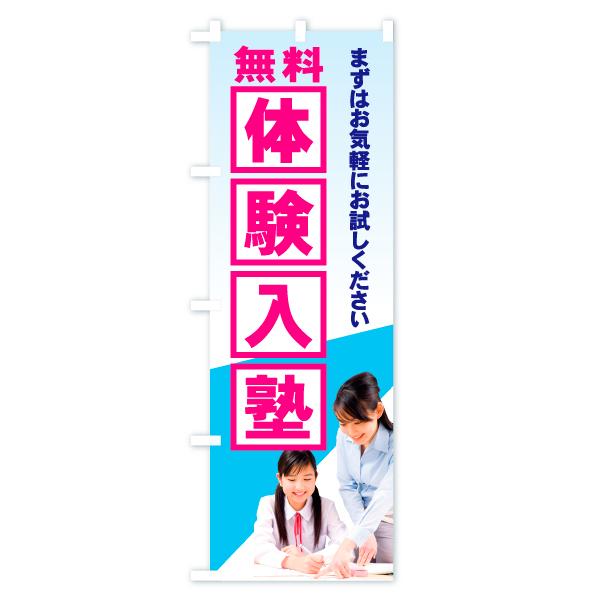 のぼり旗 無料体験入塾のデザインBの全体イメージ