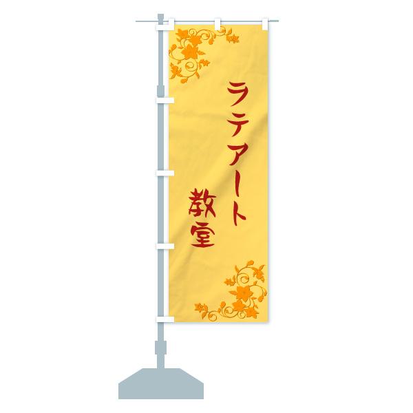 ラテアート教室のぼり旗のデザインBの設置イメージ