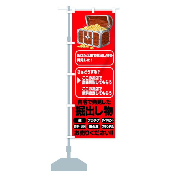 のぼり旗 自宅で発見した 掘り出し物 金 プラチナのデザインBの設置イメージ