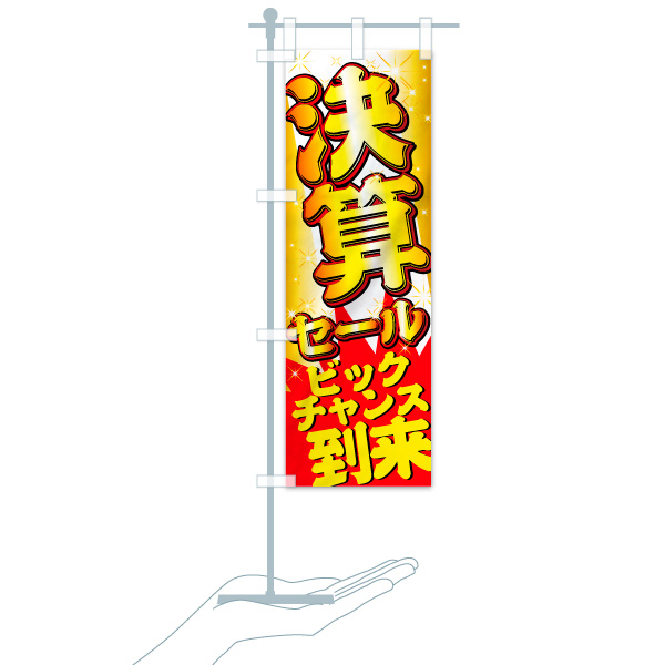 のぼり旗 決算セール ビッグチャンス到来のデザインBのミニのぼりイメージ