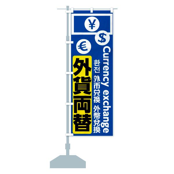 のぼり 外貨両替 のぼり旗のデザインAの設置イメージ
